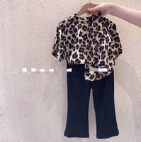 Kids Clothing Sets Girls Outfits Baby Clothes Children Summer Cotton Short Sleeve Leopard T-shirts Flared Trousers Pants 2Pcs Suits 2-6Y B5167