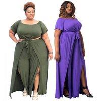 여성 두 조각 바지 세트 플러스 사이즈 의류 여성들은 도매 붕대 자르기 탑 넓은 다리 슬립 밑단 바지 Streetwear 드롭