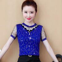 Плюс размер печати блузки женщин лето с коротким рукавом кружева сетка Blusas женские вершины и рубашки красный зеленый синий черный 855
