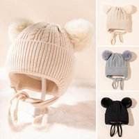 Caps & Hats Soft Ear Protection Knitted Baby Hat Solid Color Double Pompom Infant Toddler Beanie Cute Autumn Winter Warm Kid Girl Boy Bonnet