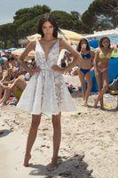 2021 Short Beach Wedding Dress A Line Mini Lace Vestido de novia V Neck Elegant Boho Bride Dresses Custom Made