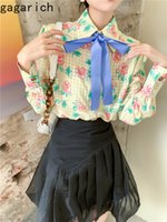 Women Shirts Spring Autumn Korean Sweet Temperament Girls Bow Ribbon Decoration Dark Check Jacquard Print Blouses 210506