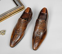 Men Cowskin Alligator Dress Shoes Genuine Leather pointed toe Slip-On Flats luxury fashion British style Celebrities Men Prom Party Wedding Christmas Shoes