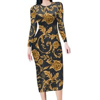 Casual Dresses Autumn And Winter Baroque Custom Floral Print Retro Waist Long Sleeve Tight Black Gold Prom Party Evening Elegant Dress