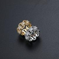 Хип-хоп замороженный с боковыми камнями кольца панк-ссылка цепи пальцев кольца для мужчин Женщины Серебряный Цвет Циркон Ювелирные Изделия