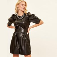 Casual O-Neck Short Puff Sleeves PU Leather Dresses Woman Sweet Basic Solid Belt High Waist Mini A-Line 2021 Fashion