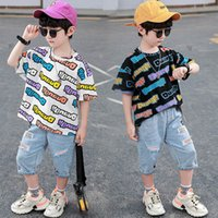 Boys Clothing Sets Boy Suits Kids Outfits Children Clothes Summer Cotton Short Sleeve T-shirts Hole Shorts Pants Jeans Casual 2Pcs 3-8Y B5183