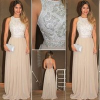 Chiffon Prom Dresses Sheer Neck Major Beaded Floor Length Guest Party Prom Evening Gowns Custom Made