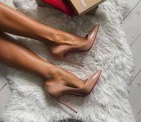 Perfect Femmes Dries Chaussures Office Sexy High High Heels Fond Red Bas-Toe pointu des sandales en cuir de brevet Espadrille Sandal Top Qualité Taille35-42