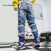 Jeans NeverFunction Men Vintage Multi-Pocket Dritto Qualità Solid Mens Hip Hop High Street Pantaloni in denim in cotone