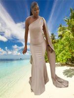 2021 Sexy One-Shoulder Prom Kleider mit Satin Black Girl's Abendkleider für Party Formale Kleid Robe de Soirée Mariage