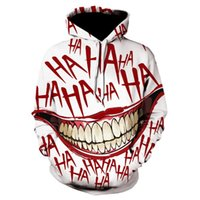 Joker haha impresso 3d hoodies filme de terror it palhao moletom moda masculina oversized harajuku streetwear com capuz unisex X0430