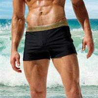 Hombres Pelotas Pantalones cortos Sexy Bodybuild Gradient Troncos Natación Boxeador Traje de baño Maillot de Bain Moda Ropa Hombre Hombres