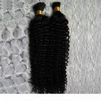 """10-26 """"capelli ricci kinky brasiliani 8a capelli umani di alta qualità per intrecciare la rinfusa senza attacco 200g 2pcs Human Treiding Hair"""