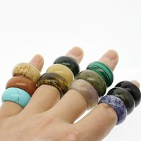 Cluster Rings Natural Semi-precious Stone Crystal Agates 12mm Ring Women Jewelry Attractive Texture Gem Individuality Unisex