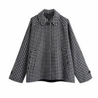 캐주얼 여자 대형 체크 무늬 망토 코트 패션 숙 녀 가을 느슨한 턴 다운 칼라 outwear 여성 빈티지 따뜻한 재킷 210515