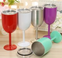 10oz Stainless Steel Wine Glasses Stemless Tumbler Goblet Red Wine-Glasses With Lids Cocktail Mug Solid Colors DIY Cup SeaWAY GWF9151