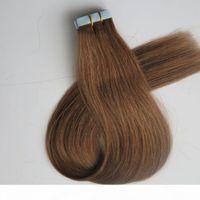 50g 20 stücke Band in menschlichen Haarverlängerungen Kleber Haut schuss 18 20 22 24 Zoll # 8 Hellbraun Brasilianisches indisches Haar