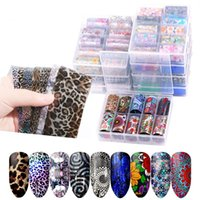 10 Roller Starry Sky Nail Foils Transfer Water Decals Nails Stickers Flower Marble Lace Design Sticker