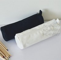 White Black Color Storage Bags for Cosmetics Stationery Round Blank Canvas Zipper Pencil Cases Pen Pouches