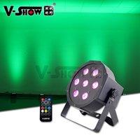 V-Show Canada Warehouse 12PCS Mini Flat LED Par Lights 7*10W RGBW 4in1 Mega Black Full Color Uplight IR Remote for Wedding Stage Lighting Party