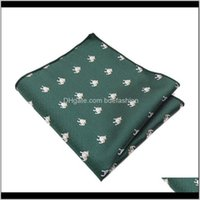 Neck Ties Fashion Aessories Jacquard Woven Polyester Pocket Square Mens Suits Hanky Animal Insect Shiba Inu Cartoon Handkerchiefs 26Cm For P