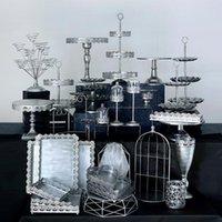 Otros soportes de pastel de bodas de plata de Silver Set con cristal para la fiesta de cumpleaños de la fiesta de cumpleaños Pantalla de cupcake Placas Metal Bandeja de metal