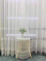 European White Hollow out círculo bordado cortinas de tule para sala de estar lacework decoração azul puro voile quarto de cozinha cortina d