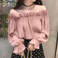 JoinYouth Ruffles solido Blusas Blusas Mujer Spring Flare Sleeve New Fashion Blouss Donne Solid Off Spalla Sexy Shirts J391 210317