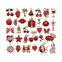 62 stks Kerstmis rode kleur emaille legering charmes diverse bloem fruit lip boog vis anker oorbel olie daling hangers