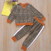 Clothing Sets Spring Girl Set Leopard Print Sweatshirt + Pants Suits For Kids Fashion Children Clothes