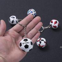 Mini Football Keychain Pendant Stainless Steel Luggage Decoration Key Chain Creative Fan Souvenir Gift Keyring DHA8880
