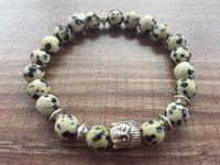 Braccialetti di fascino 8mm Pietra naturale Dalmata Jaspers Braccialetto Amore Pendente Buddha Yoga Preghiera Mala Perline