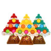 Cute Christmas Xmas tree shape push fidget bubble sensory cartoon key ring toys kids stress relief squeeze ball keychain MMA211
