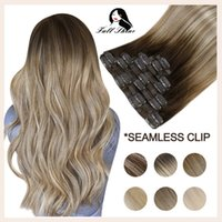 Full Shine Seamless Clip in Hair Extensions Remy Human Hair 8Pcs 100g PU Tape In Hair Extensions Ombre Blonde Color Skin Weft H0916