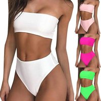 Bikini 2021 Swimwear Women's Sexy Solid Color Bralette Tops Set Two-piece Swimsuit Fashion Women