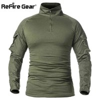 ReFire Gear Men Army Tactical T shirt SWAT Soldiers Military Combat T-Shirt Long Sleeve Camouflage Shirts Paintball T Shirts 5XL K29