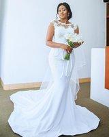 2021 Simple Gorgeous Mermaid Wedding Dresses Jewel Neck Illusion Lace Appliques Cap Sleeves Chapel Train Plus Size Satin Formal Bridal Dress vestidos de novia