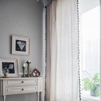 Pequeno margarida cortina algodão linho borla blackout liso janela capa americana cozinha semi-sombreamento ganchos cortinas