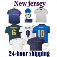 Itália 2021 Jersey de futebol Away 2122 Jorginho El Shaarawy Bonucci Insigne Bernardeschi Homens Adultos + Kit Kids Football Shirts