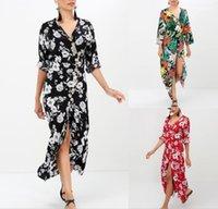 Платье Одежда для отдыха Лето Женщины Цветочные Богемные Платья Мода Пляж Приморский Повседневная