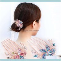 Headbands Jewelry Jewelryelegant Flower Hair Aessories Women Comb Rhinestone Crystal Clips Stylish Lady Bride Wedding Party Headdress Drop D