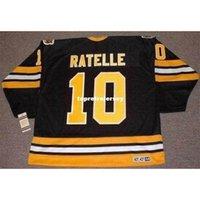 Wholesale Mens JEAN RATELLE Boston Bruins 1978 CCM Vintage Away Cheap Retro Hockey Jersey