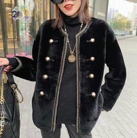 Elegant Double- breasted Real Fur Coat For Women Genuine Leat...