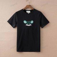 Gucci T-shirt مضرب التنس التطريز مجموعة عارضة البيج صنع في إيطاليا الملابس مجموعات تي شيرت الرجال النساء قصيرة الأكمام الصيف تي شيرت أزياء تي