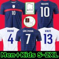 رجل + أطفال 2021 Grizmann Mbappe Soccer Jersey Kante 20 21 Centning Centery De Football 2020 فرنسا Zidane Giroud Matuidi Kimpembe Ndombele Thauvin 100
