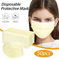 Cycling Caps & Masks 50pcs Yellow Adlut Disposable Face Mask Fashion 3 Layer Non-woven Fabric Mouth For Halloween Cosplay Headband Masque