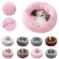 Kennels & Pens Pet Dog Cat Round Bed Plush Toy House Soft Long Winter Warm With Random Pillow