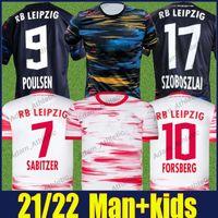 Rbl Soccer Jerseys 2021 Poulsen Sabitzer Forsberg Forsberg Jersey Konate Upamecano Olmo Szoboszlai Camisas 21/22 Hee Chan Angelino Kluivert Sports Wear Kit Kids Kit