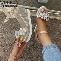 Sandals 2021 Female Fashion Flower Open Toe Dress Silver Women Rhinestone Wedges Platform Party Shoes Woman